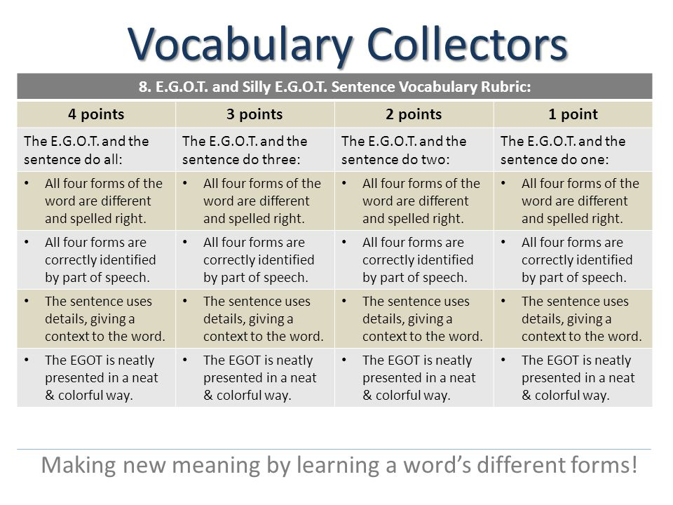 Vocabulary Collectors Making new meaning by using the word in a clever sentence.