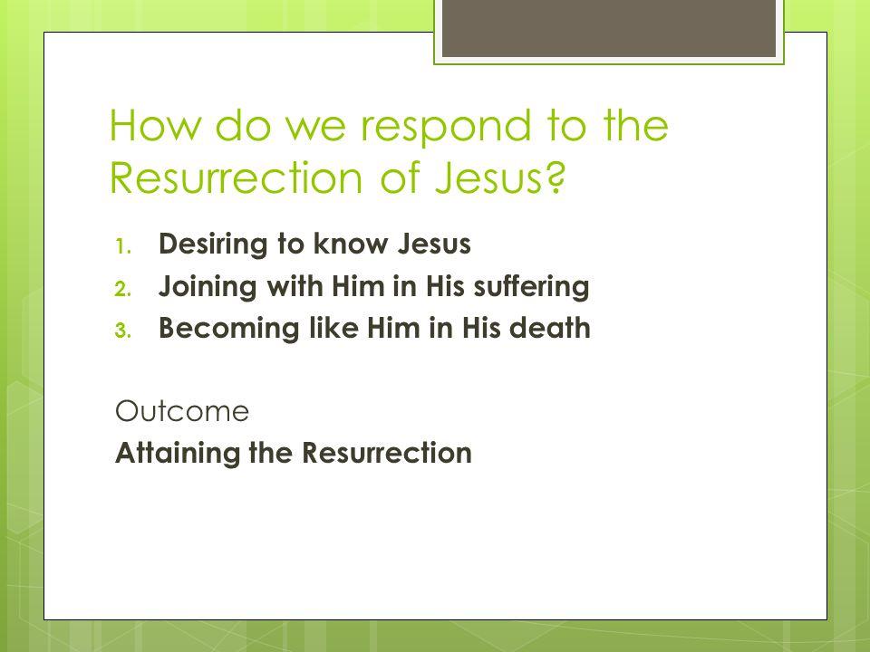 How do we respond to the Resurrection of Jesus.1.