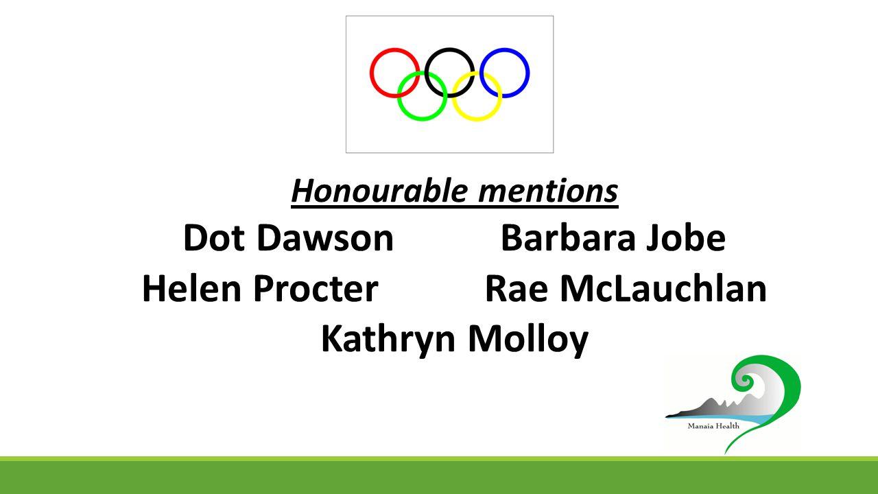 Honourable mentions Dot Dawson Barbara Jobe Helen Procter Rae McLauchlan Kathryn Molloy