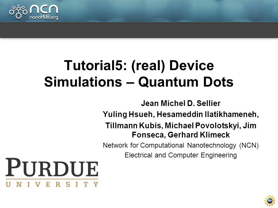 Tutorial5: (real) Device Simulations – Quantum Dots Jean Michel D.