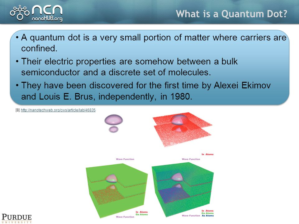 What is a Quantum Dot. A quantum dot is a very small portion of matter where carriers are confined.
