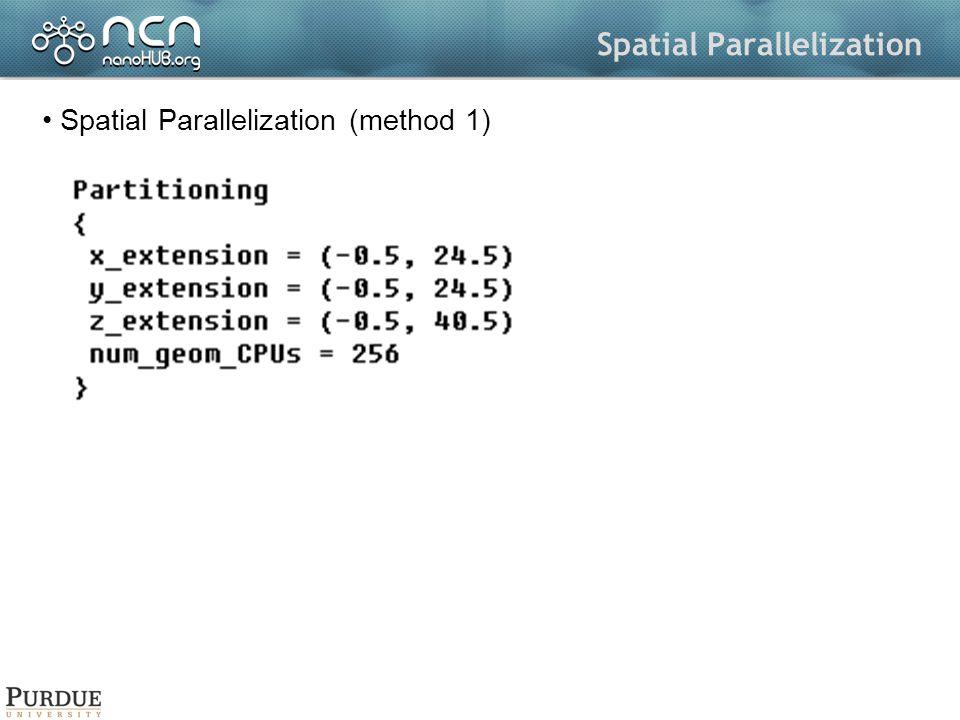 Spatial Parallelization Spatial Parallelization (method 1)
