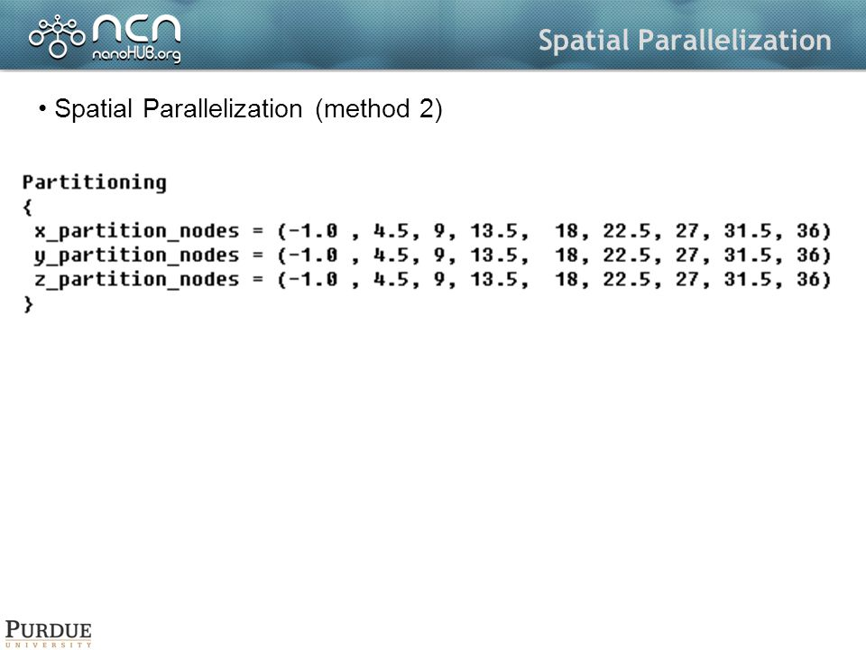 Spatial Parallelization Spatial Parallelization (method 2)