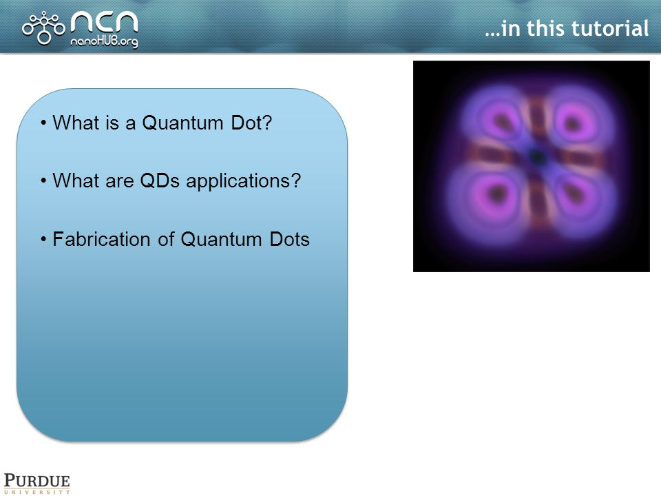 …in this tutorial What is a Quantum Dot.What are QDs applications.