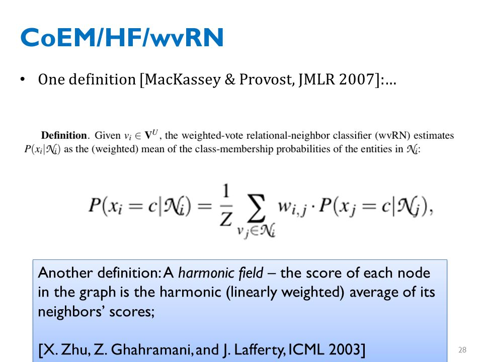 CoEM/wvRN/HF Another justification of the same algorithm….