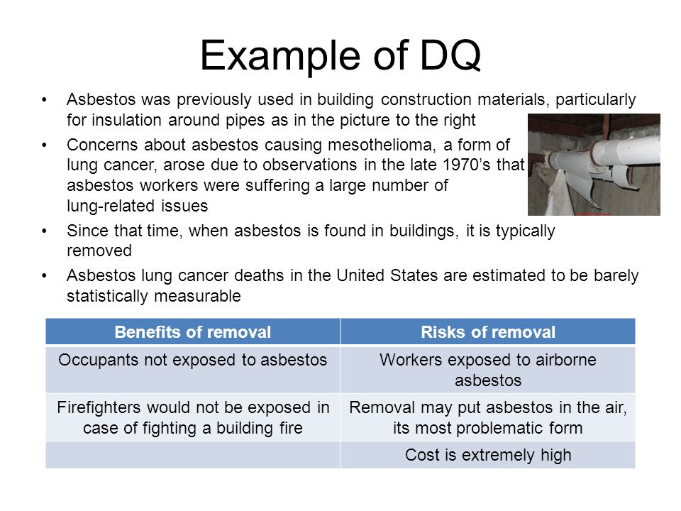 Example of DQ Asbestos was previously used in building construction materials, particularly for insulation around pipes as in the picture to the right