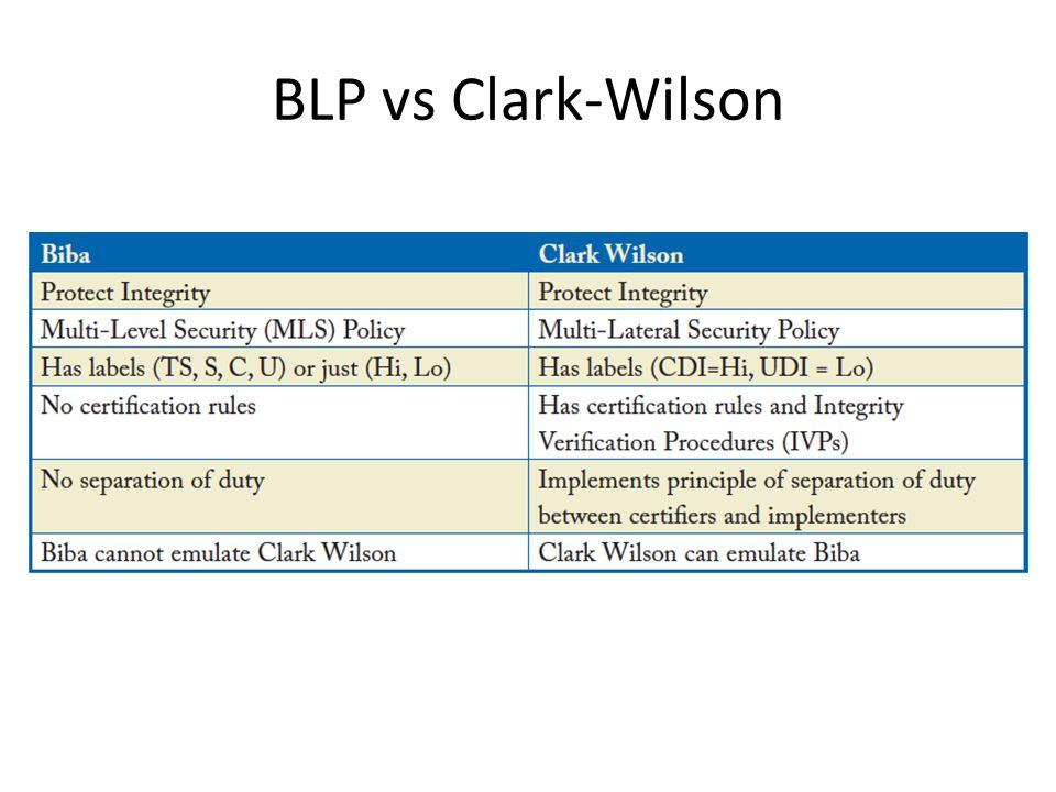 BLP vs Clark-Wilson