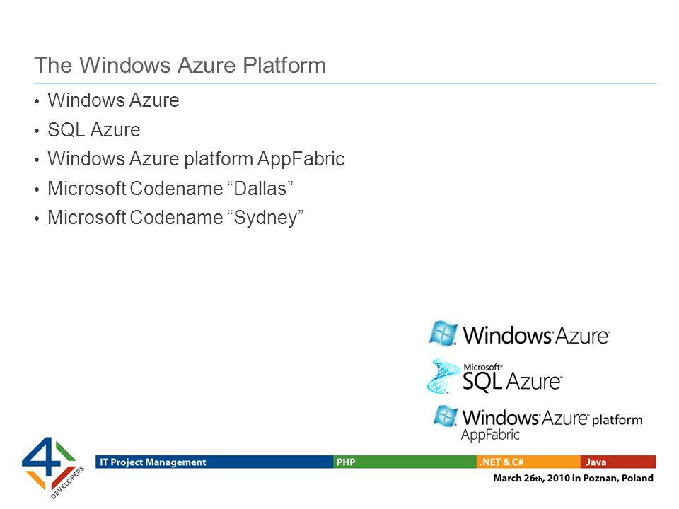 Windows Azure Flexible application hosting Lights-out service management Provide code & service model, hit ENTER Storage at massive scale Blobs, tables, queues
