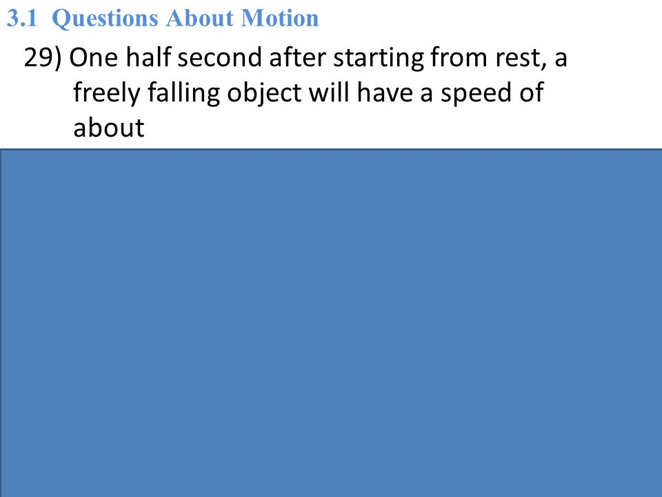 29) One half second after starting from rest, a freely falling object will have a speed of about A) 20 m/s.