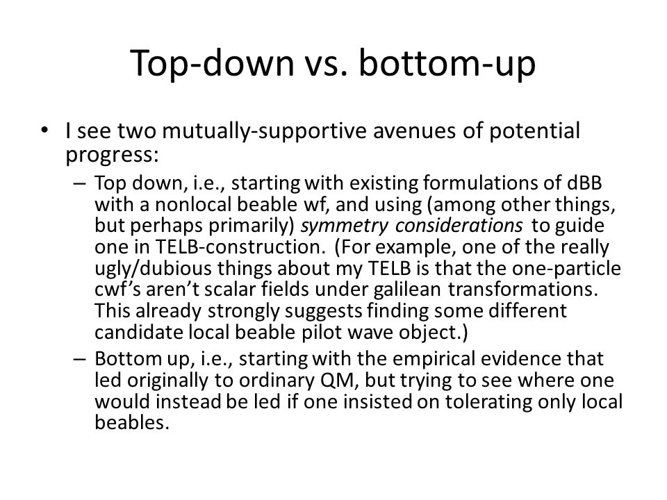 Top-down vs.