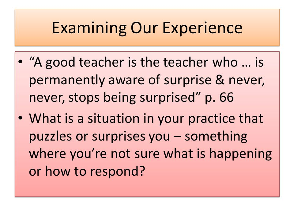 "Examining Our Experience ""A good teacher is the teacher who … is permanently aware of surprise & never, never, stops being surprised"" p. 66 What is a"