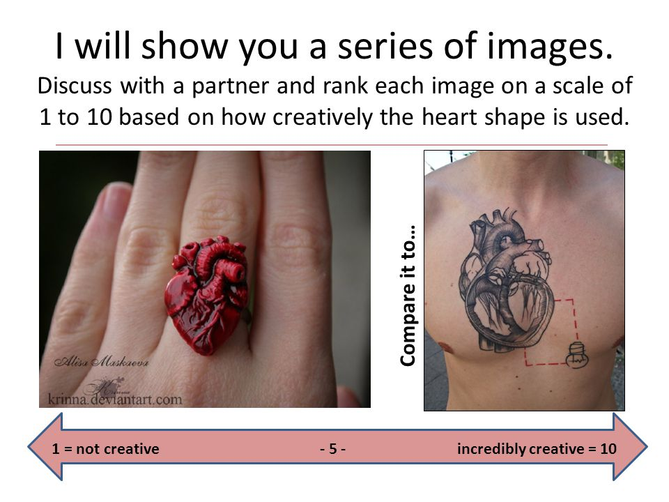 I will show you a series of images. Discuss with a partner and rank each image on a scale of 1 to 10 based on how creatively the heart shape is used.