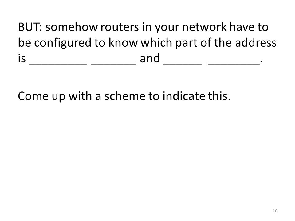 BUT: somehow routers in your network have to be configured to know which part of the address is _________ _______ and ______ ________.
