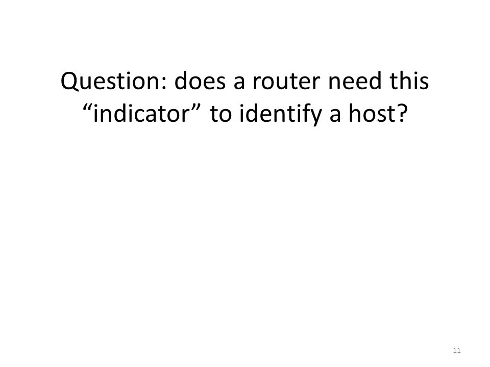 Question: does a router need this indicator to identify a host 11