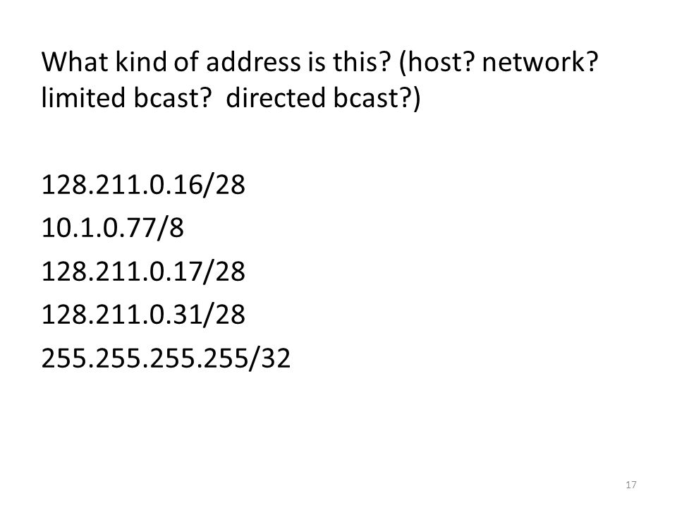 What kind of address is this. (host. network. limited bcast.