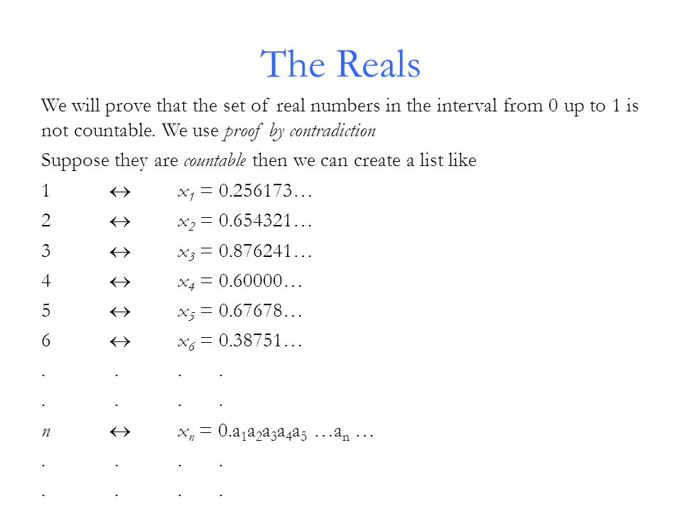 The Reals We will prove that the set of real numbers in the interval from 0 up to 1 is not countable.