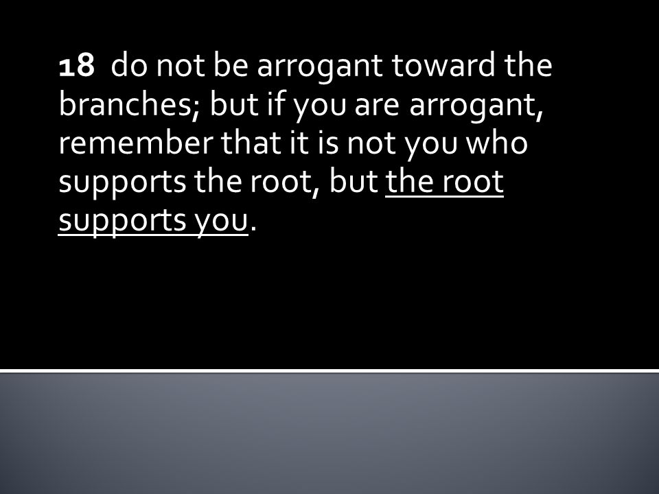 18 do not be arrogant toward the branches; but if you are arrogant, remember that it is not you who supports the root, but the root supports you.