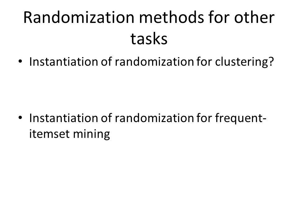Randomization methods for other tasks Instantiation of randomization for clustering.
