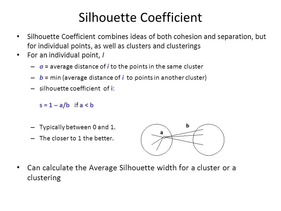 Silhouette Coefficient combines ideas of both cohesion and separation, but for individual points, as well as clusters and clusterings For an individua