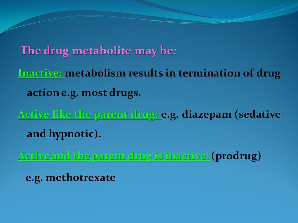 The drug metabolite may be: The drug metabolite may be: Inactive: Inactive: metabolism results in termination of drug action e.g.