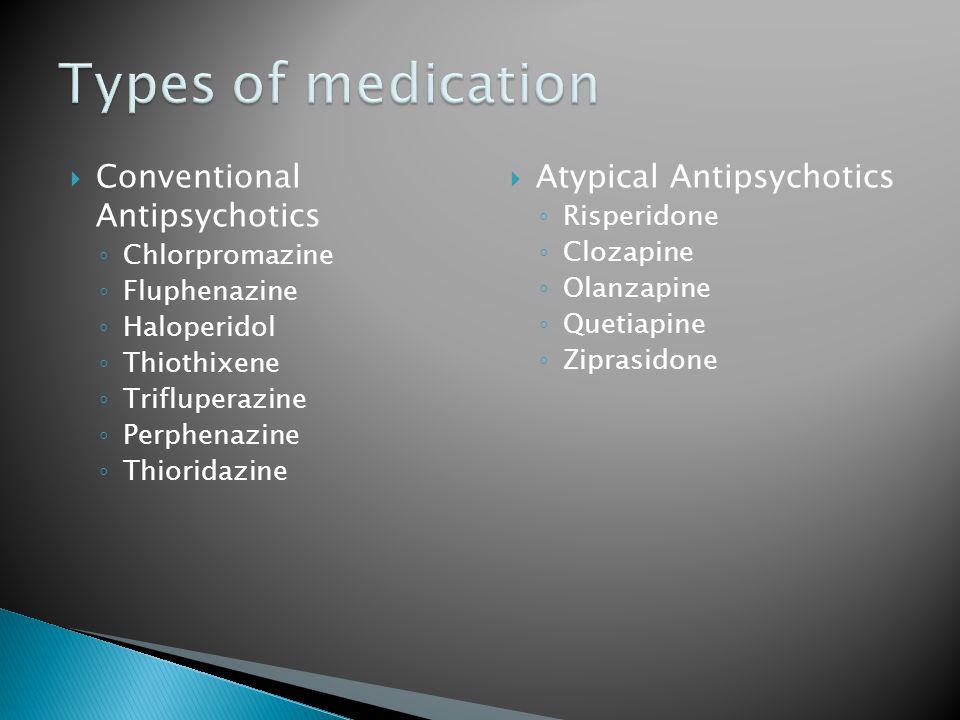  Conventional Antipsychotics ◦ Chlorpromazine ◦ Fluphenazine ◦ Haloperidol ◦ Thiothixene ◦ Trifluperazine ◦ Perphenazine ◦ Thioridazine  Atypical Antipsychotics ◦ Risperidone ◦ Clozapine ◦ Olanzapine ◦ Quetiapine ◦ Ziprasidone