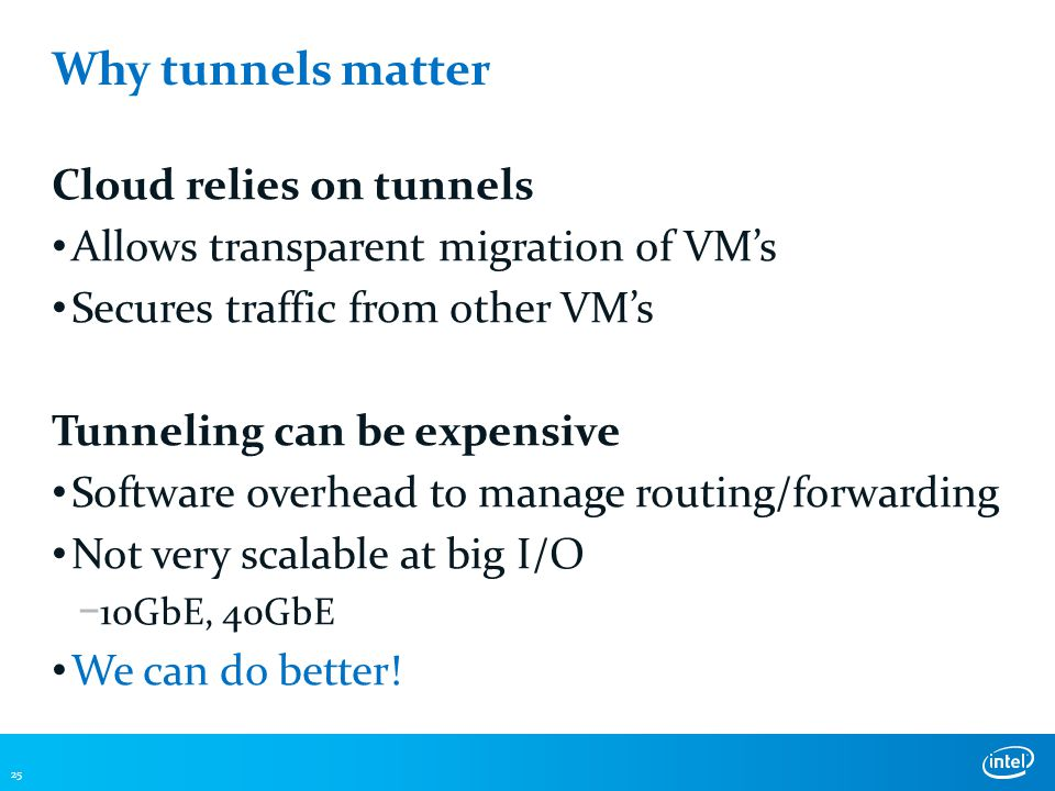 Why tunnels matter Cloud relies on tunnels Allows transparent migration of VM's Secures traffic from other VM's Tunneling can be expensive Software overhead to manage routing/forwarding Not very scalable at big I/O − 10GbE, 40GbE We can do better.