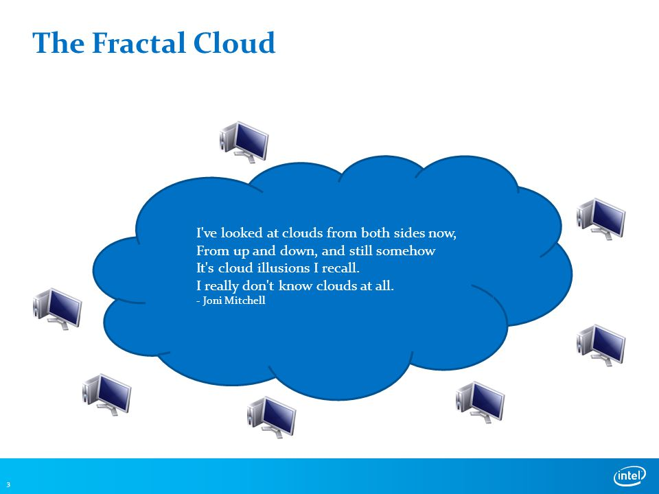 The Fractal Cloud 3 I ve looked at clouds from both sides now, From up and down, and still somehow It s cloud illusions I recall.