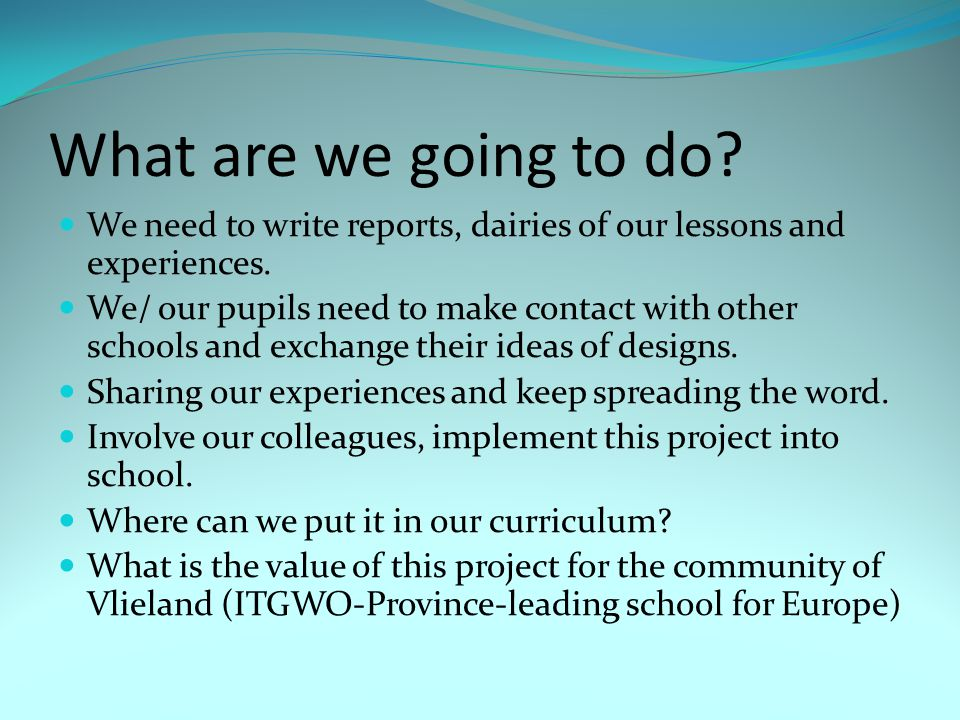 What are we going to do. We need to write reports, dairies of our lessons and experiences.