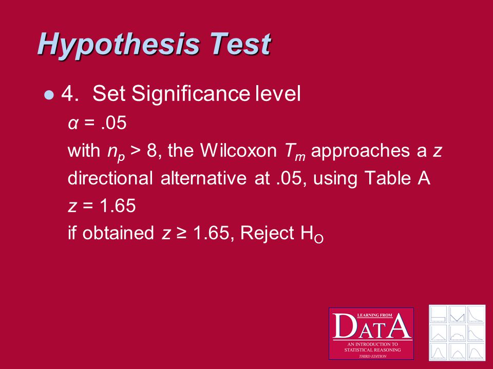 Hypothesis Test 4.Set Significance level α =.05 with n p > 8, the Wilcoxon T m approaches a z directional alternative at.05, using Table A z = 1.65 if obtained z ≥ 1.65, Reject H O