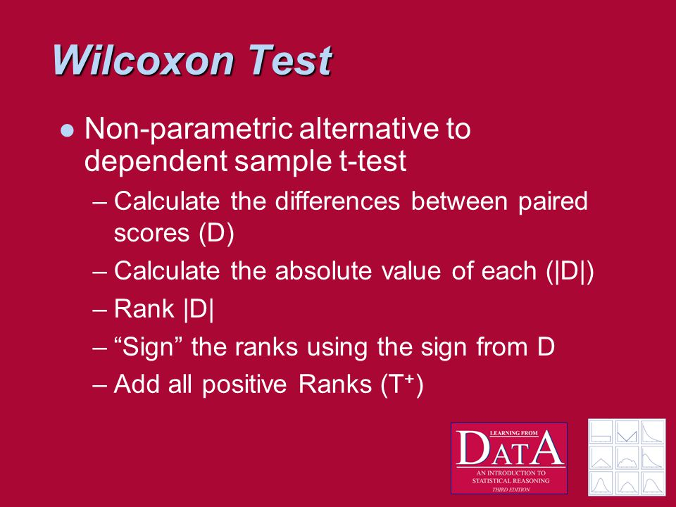 Wilcoxon Test Non-parametric alternative to dependent sample t-test –Calculate the differences between paired scores (D) –Calculate the absolute value of each (|D|) –Rank |D| – Sign the ranks using the sign from D –Add all positive Ranks (T + )