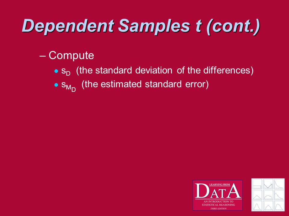 Dependent Samples t (cont.) –Compute s D (the standard deviation of the differences) s M D (the estimated standard error)