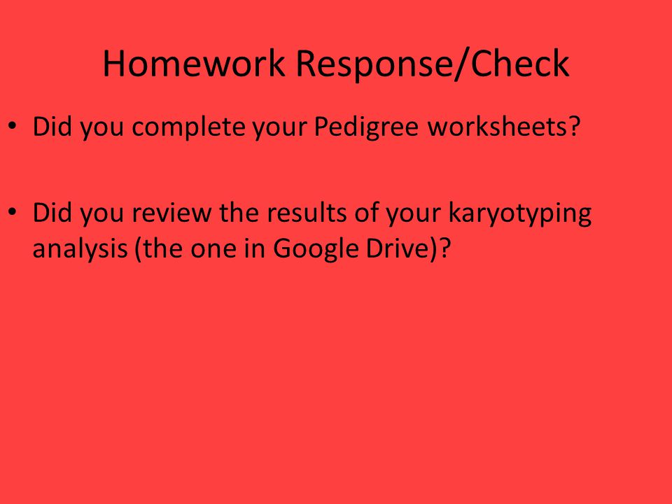 Homework Response/Check Did you complete your Pedigree worksheets? Did you review the results of your karyotyping analysis (the one in Google Drive)?