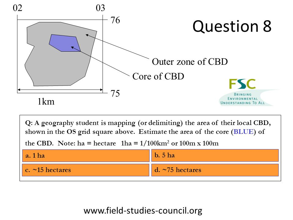 Question 8 Q: A geography student is mapping (or delimiting) the area of their local CBD, shown in the OS grid square above.
