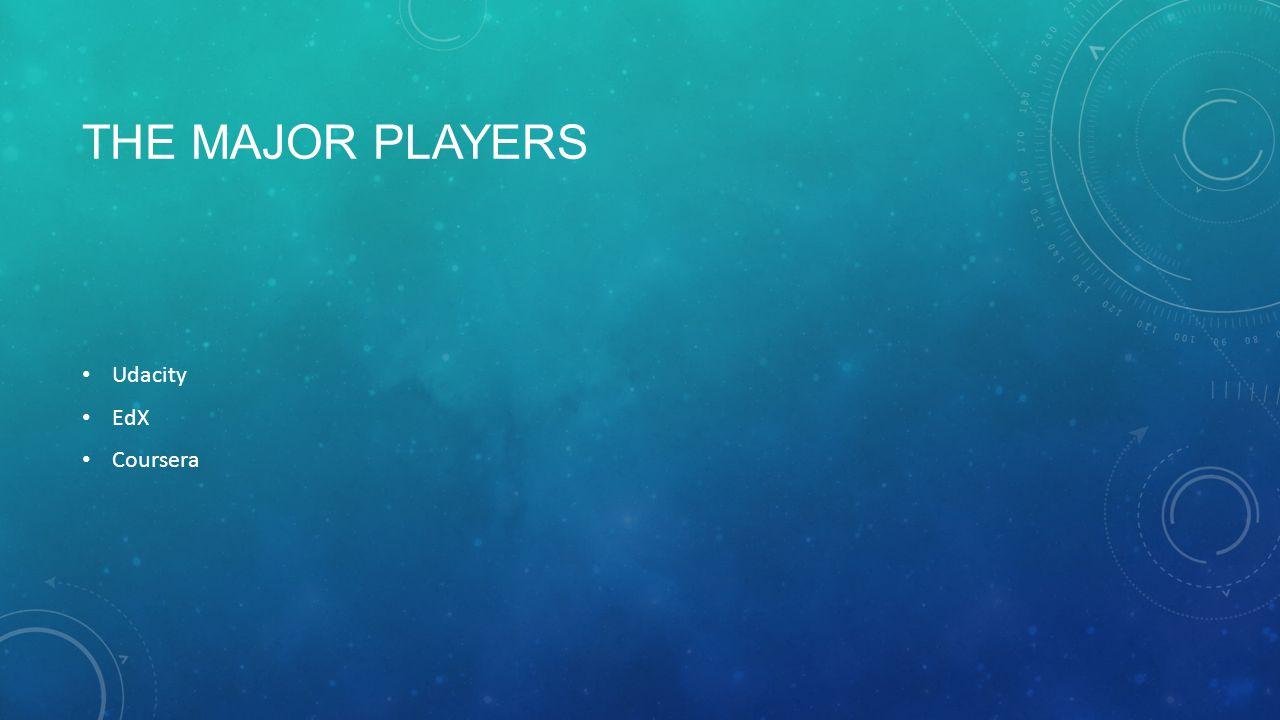 THE MAJOR PLAYERS Udacity EdX Coursera