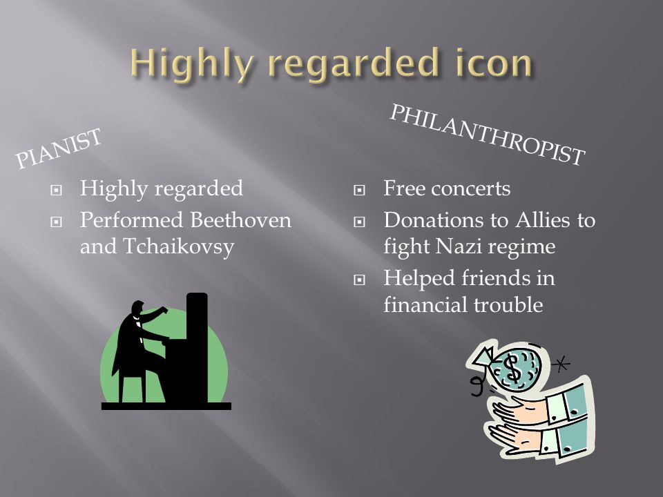 PIANIST PHILANTHROPIST  Highly regarded  Performed Beethoven and Tchaikovsy  Free concerts  Donations to Allies to fight Nazi regime  Helped friends in financial trouble