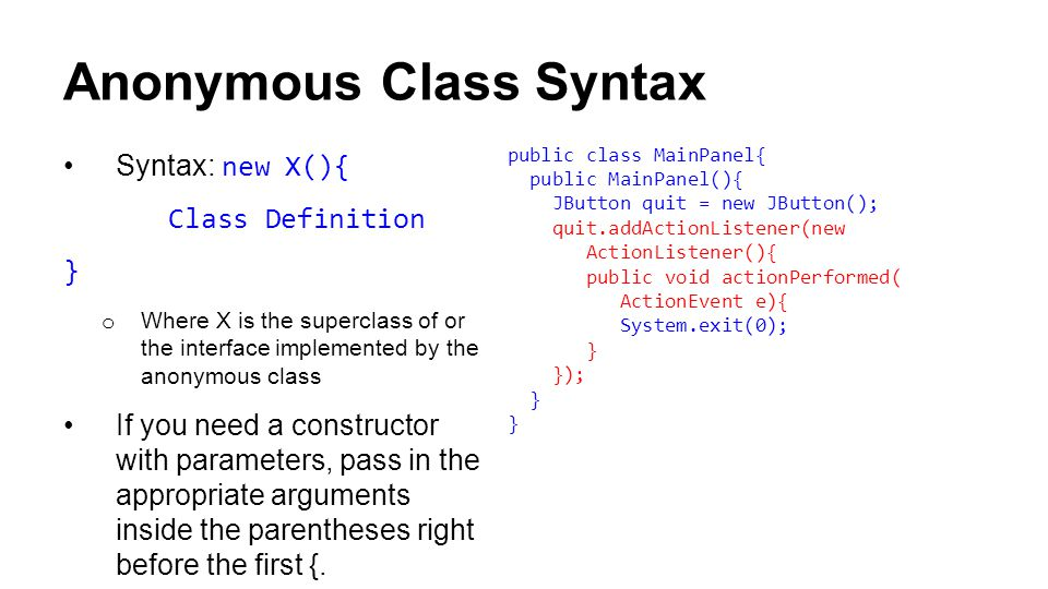 Another Use of this In fact, this can be used to access any member of the current class, including instance variables In fact, some people will write constructors like this: But we ask you to use this when calling a class's own methods for the sake of consistency It is also important to remember that you are calling the method on an instance of an object Similarly, we don't use this to refer to instance variables, because that is inconsistent from the way we normally use variables Still required to use _ for instance variables public class MyClass { private int a, b; public MyClass(int a, int b) { this.a = a; this.b = b; }