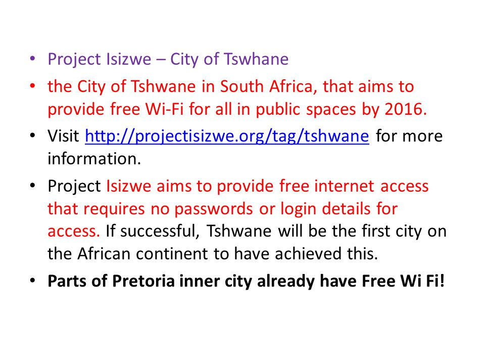South African Solution FREE Wi Fi!!
