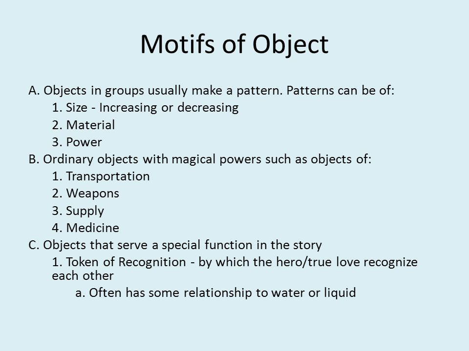 Motifs of Object A. Objects in groups usually make a pattern.