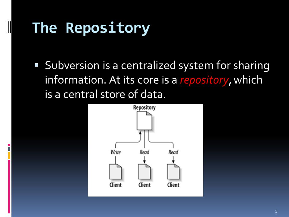 The Repository  Subversion is a centralized system for sharing information.