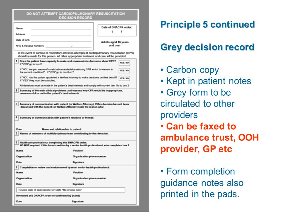 Principle 5 continued Grey decision record Carbon copy Kept in patient notes Grey form to be circulated to other providers Can be faxed to ambulance trust, OOH provider, GP etc Form completion guidance notes also printed in the pads.
