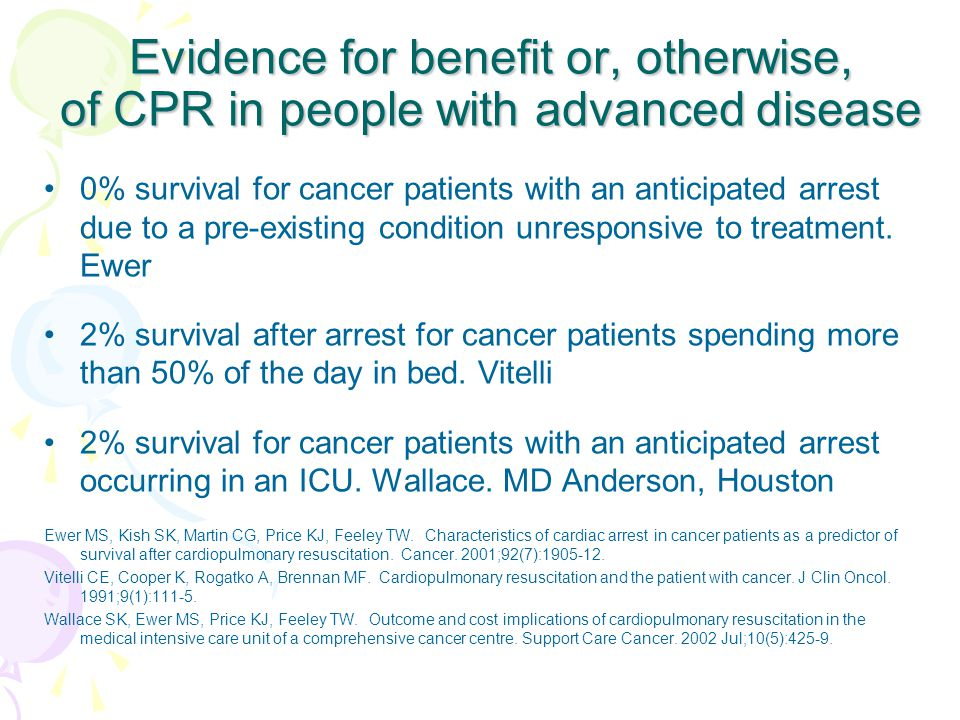 Evidence for benefit or, otherwise, of CPR in people with advanced disease 0% survival for cancer patients with an anticipated arrest due to a pre-existing condition unresponsive to treatment.