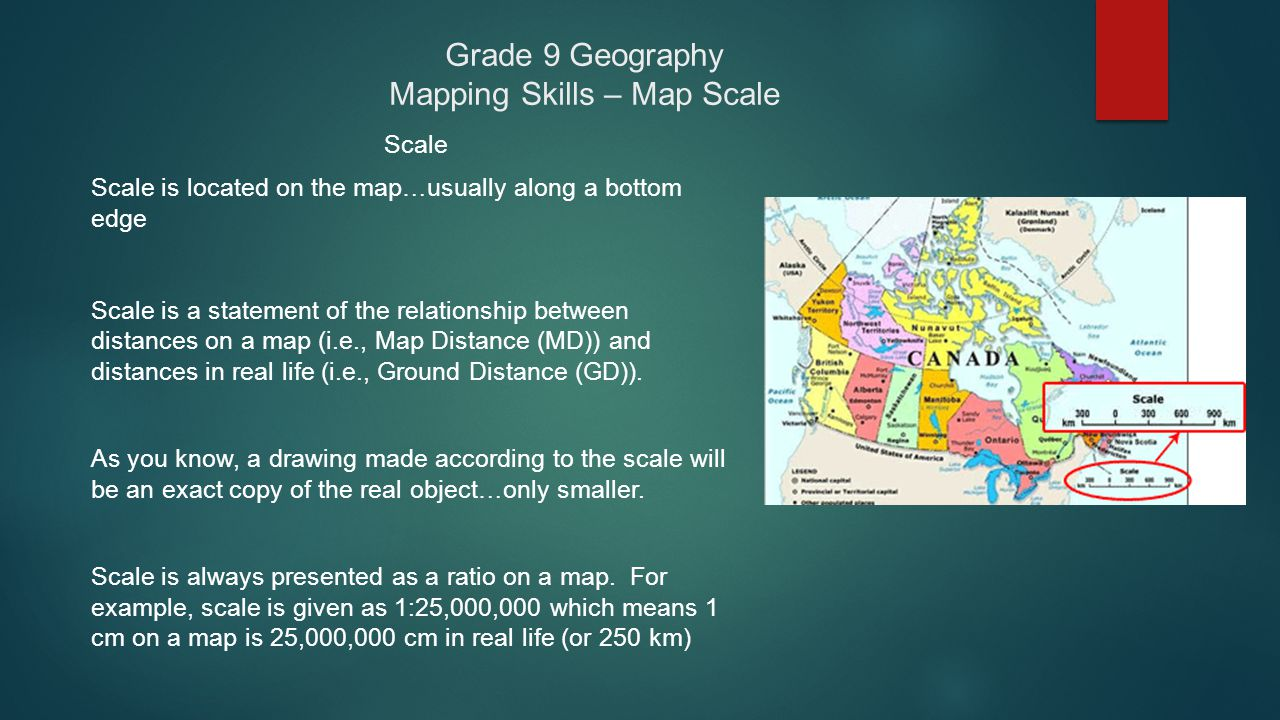Grade 9 Geography Mapping Skills – Map Scale Scale Scale is located on the map…usually along a bottom edge Scale is a statement of the relationship be
