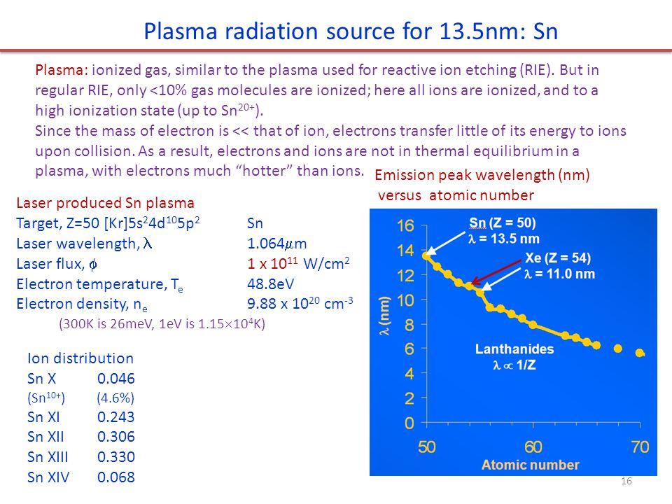 Emission peak wavelength (nm) versus atomic number Laser produced Sn plasma Target, Z=50 [Kr]5s 2 4d 10 5p 2 Sn Laser wavelength, 1.064  m Laser flux,  1 x 10 11 W/cm 2 Electron temperature, T e 48.8eV Electron density, n e 9.88 x 10 20 cm -3 Ion distribution Sn X0.046 (Sn 10+ ) (4.6%) Sn XI0.243 Sn XII0.306 Sn XIII0.330 Sn XIV0.068 Plasma radiation source for 13.5nm: Sn 16 (300K is 26meV, 1eV is 1.15  10 4 K) Plasma: ionized gas, similar to the plasma used for reactive ion etching (RIE).