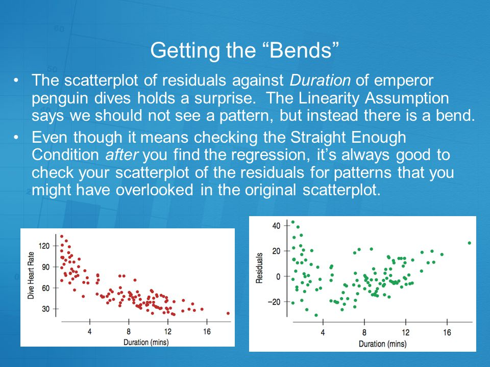 "Getting the ""Bends"" Linear regression only works for linear models. (That sounds obvious, but when you fit a regression, you can't take it for granted"