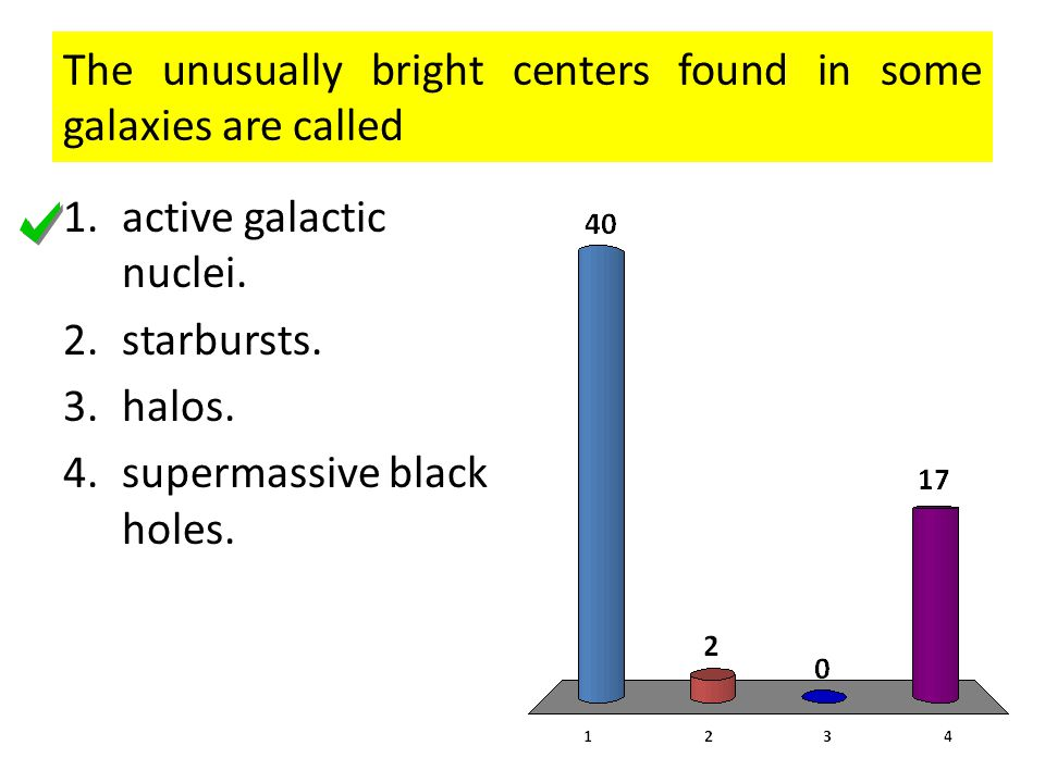 The unusually bright centers found in some galaxies are called 1.active galactic nuclei.