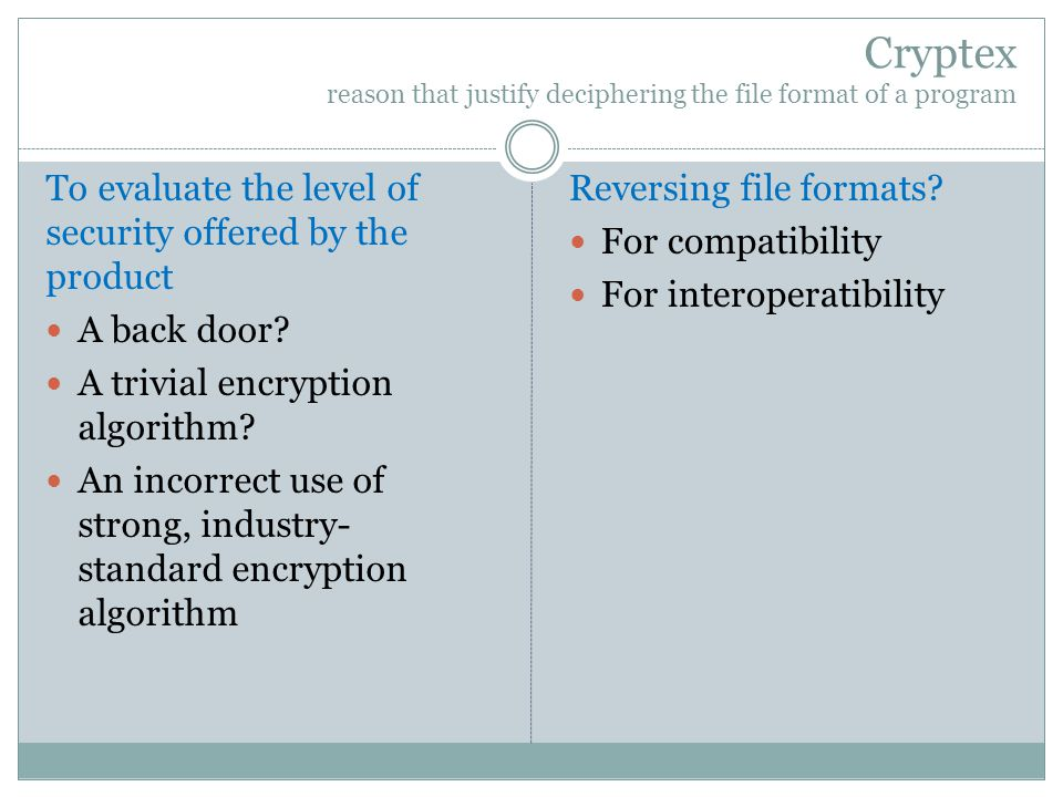 Cryptex reason that justify deciphering the file format of a program To evaluate the level of security offered by the product A back door.