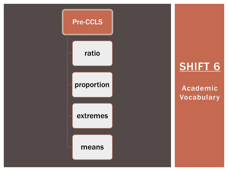 SHIFT 6 Academic Vocabulary Pre-CCLS ratioproportionextremesmeans