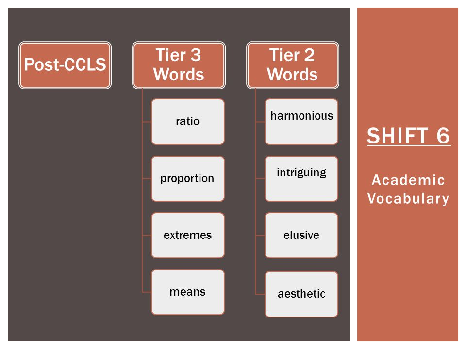 SHIFT 6 Academic Vocabulary Post-CCLS Tier 3 Words ratioproportionextremesmeans Tier 2 Words harmoniousintriguing elusiveaesthetic