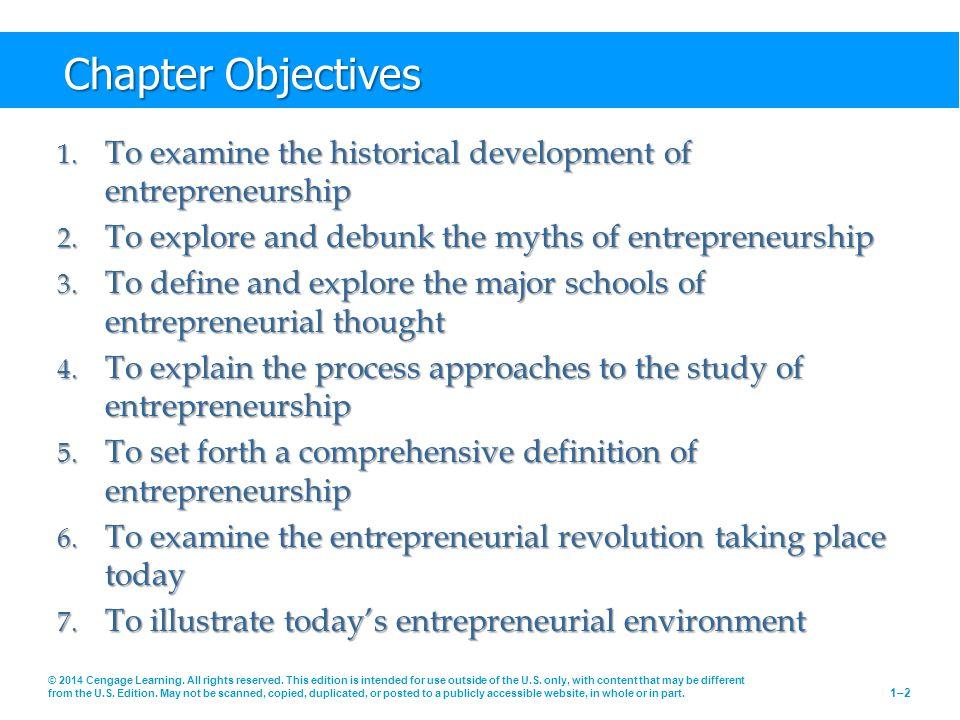 Chapter Objectives 1. To examine the historical development of entrepreneurship 2.