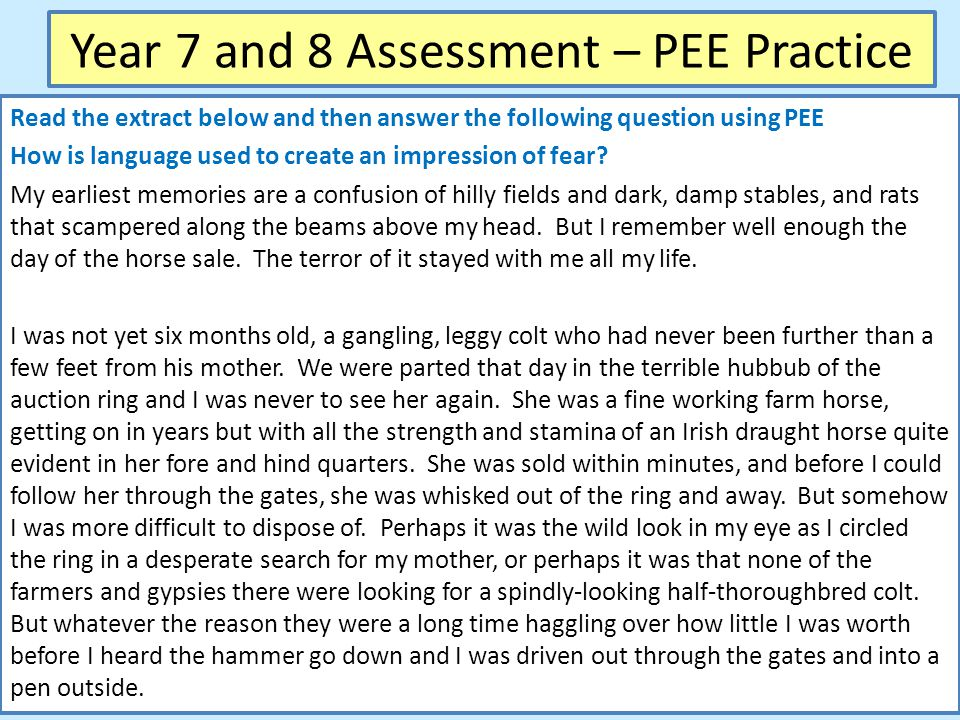 Year 7 and 8 Assessment – PEE Practice Read the extract below and then answer the following question using PEE How is language used to create an impression of fear.